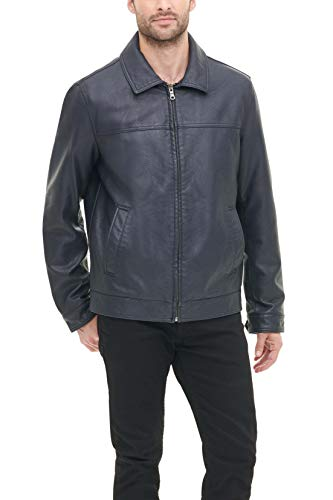 Tommy Hilfiger Men's Classic Faux Leather Laydown Collar Jacket, Navy, XX-Large