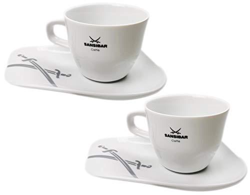 2-teilig Sansibar Kaffeetassen Set aus Porzellan, dickwandig mit Untertassen, Café Caffè Kaffee Tassen (2er Set Kaffeetassen, 200 ml)