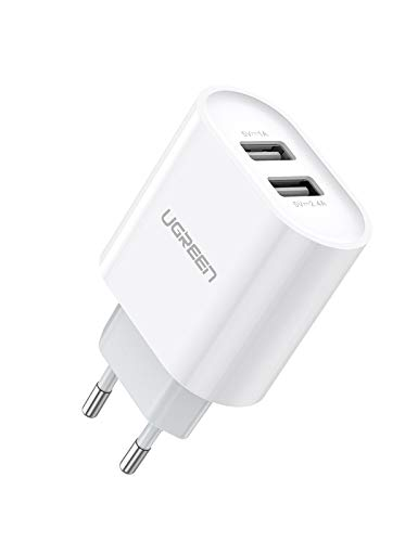 UGREEN USB Ladegerät 3.4A USB Ladeadapter 2 Ports mit intelligent Technologie USB Netzteil kompatibel mit iPhone 11 X 8Plus 8 7, iPad Air, Galaxy S9 Plus S8 S7, Kamera,Tablets, MP3 usw. (Weiß)