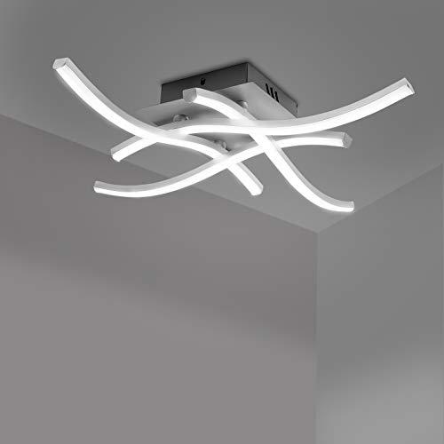 HITECHLIFE Lámpara de techo LED, elegante lámpara de techo LED de diseño curvo, paneles LED incorporados de 3/4,28W 1400 lúmenes, lámpara de araña Lámpara de techo LED de diseño curvo para dormitorio