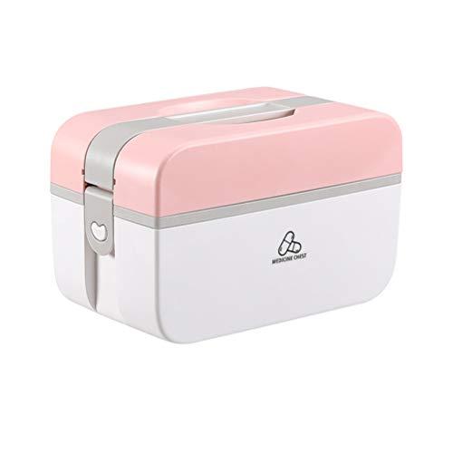 Exceart EHBO-Koffer Koffer Medicijn Opbergdoos Met Gedeelde Vakken Familie Noodpakket Voor Thuiskantoor Auto Reizen Roze L