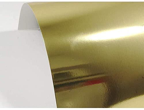 Netuno 10 Blatt Gold Spiegelkarton einseitig Bedruckt DIN A5 148x210 mm 225g Mirror Gold Effekt-Papier in Gold Metallic Spiegel Papier Deko-Karton mit Spiegel-Effekt für DIY Kunst Handwerk Dekoration