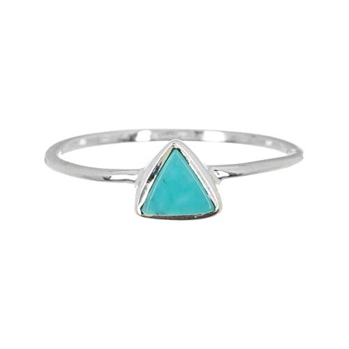 Pura Vida Silver Triangle Stone Ring - .925 Sterling Silver, Genuine Turquoise Jewelry - Size 9
