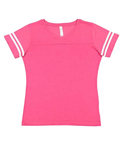 LAT Ladies' Fine Jersey Short Sleeve Football Tee (Vintage Hot Pink/Blended White, X-Large)