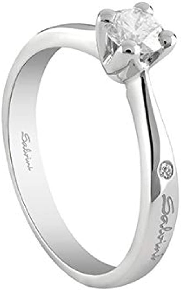 Salvini,anello solitario per donna,in oro bianco 18 kt, e  con  diamante centrale 0,11 ct 20067670 011