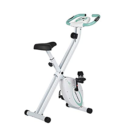 Ultrasport - Bicicleta estática F-Bike, bicicleta fitness plegable con consola y pulsómetro, soporta hasta 100kg, verde menta