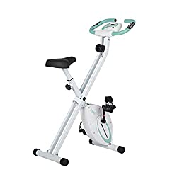 Ultrasport F-Bike Design, bike trainer, exercise bike, foldable fitness bike with gel saddle, bottle cage, LCD display, hand pulse sensors, compact and foldable, load capacity up to 110 kg, Mint