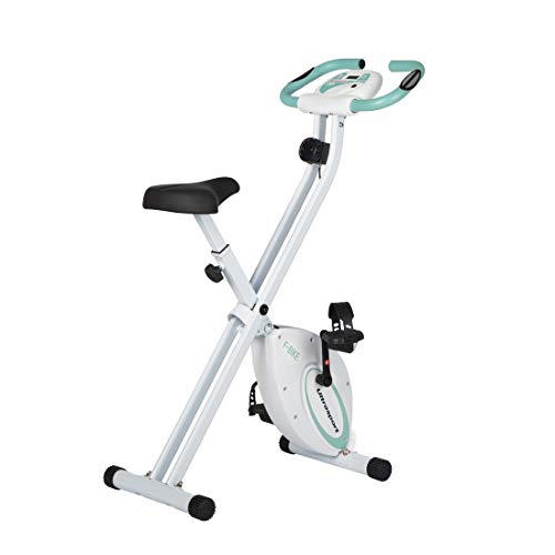 Ultrasport F-Bike, Fahrradtrainer, Heimtrainer, faltbares Fitnessfahrrad mit Trainingscomputer und Handpulssensoren, klappbar, belastbar bis 100 kg, Mint