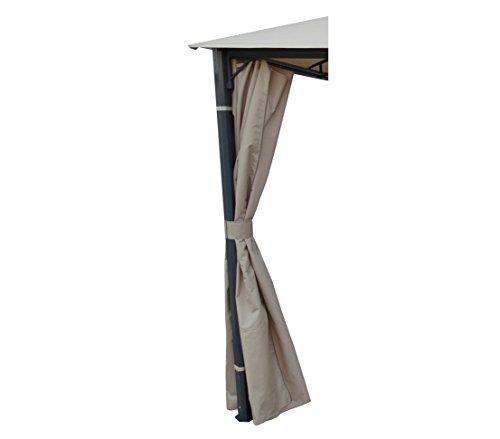 Dehner 2357499 Wind E Dello Schermo Di Segretezza Per Dubai Gazebo Laterale, Set Di 4, Poliestere, 3 X 4 M, Ca. 273 X 197 Cm Beige