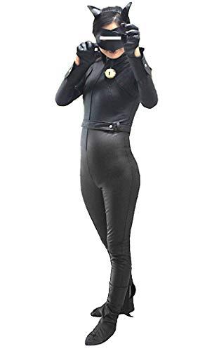 Simil Chat Noir Ladybug Vestito Tuta Bambina Cosplay Simil Cat Noir Costume CHAN06 (S - 120-130)