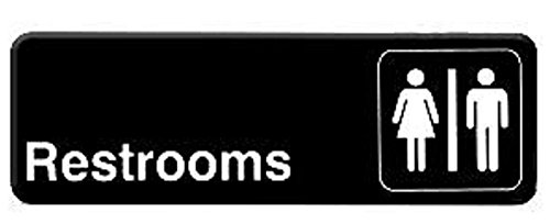 """ RESTROOM "" information directional sign - signs - door- business - restaurant - office- plastic- commercial - warning - entrance- bathroom - restroom - women - men - gender 9"" x 3"" / 6"" x 9"" (9"" x 3"")"