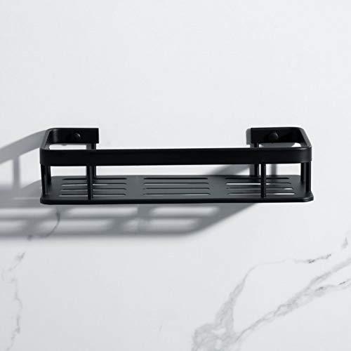 WSLWJH hoeklijst, badkamerrek aluminium douchestang hoekplank vierkant badkuip douchestang bouten inzetten type opslag organizer rek balck Single Tier