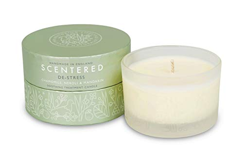 Scentered DE-Stress Aromatherapy Scented Candle - Supports Relaxation, Calmness & Stress Relief - Chamomile, Jasmine & Cedarwood Blend - Small Candle