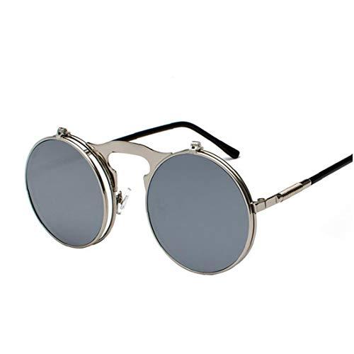 Odoukey Tirón Retro Gafas de Sol Redondas de Metal Lentes de Steampunk hasta Style5 clásico de la Vendimia