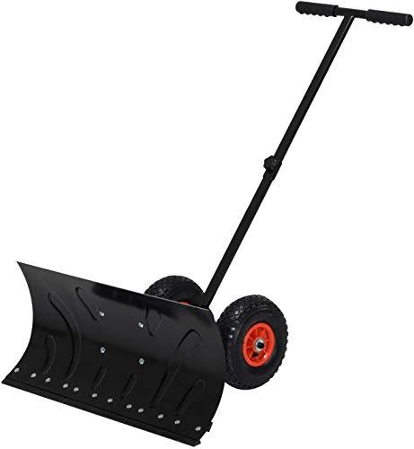 Buy ZJDU Rolling Snow Plow Shovels,Wheeled Snow Pusher,74Cm Blade Rolling Snow Pusher Shovel,with Wh...