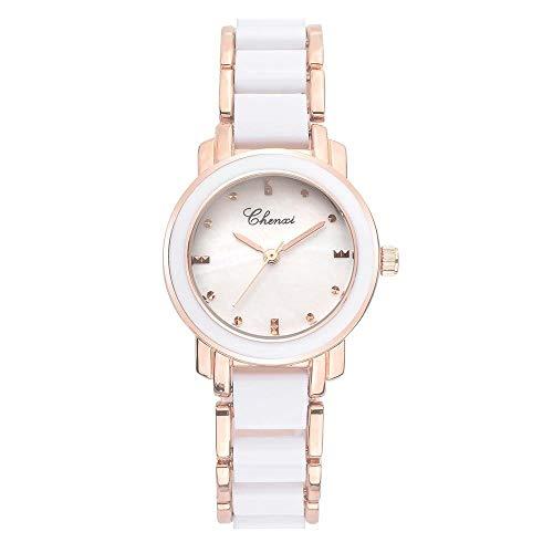 DAZHE Militäruhren Quarz Armbanduhren, Frauenuhr Morgenmarke Uhr Seashell Mode Uhr Keramik Quarzuhr Watch301A (Color : 1)
