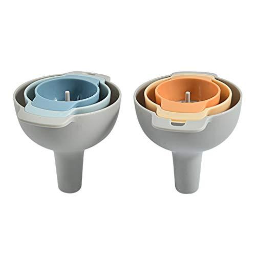 Hemoton 2 Stück Trichter 3 in1 Küche Strainer Trichter Kochtrichter Kunststoff Einfülltrichter mit Griff und herausnehmbarer Siebeinsatz