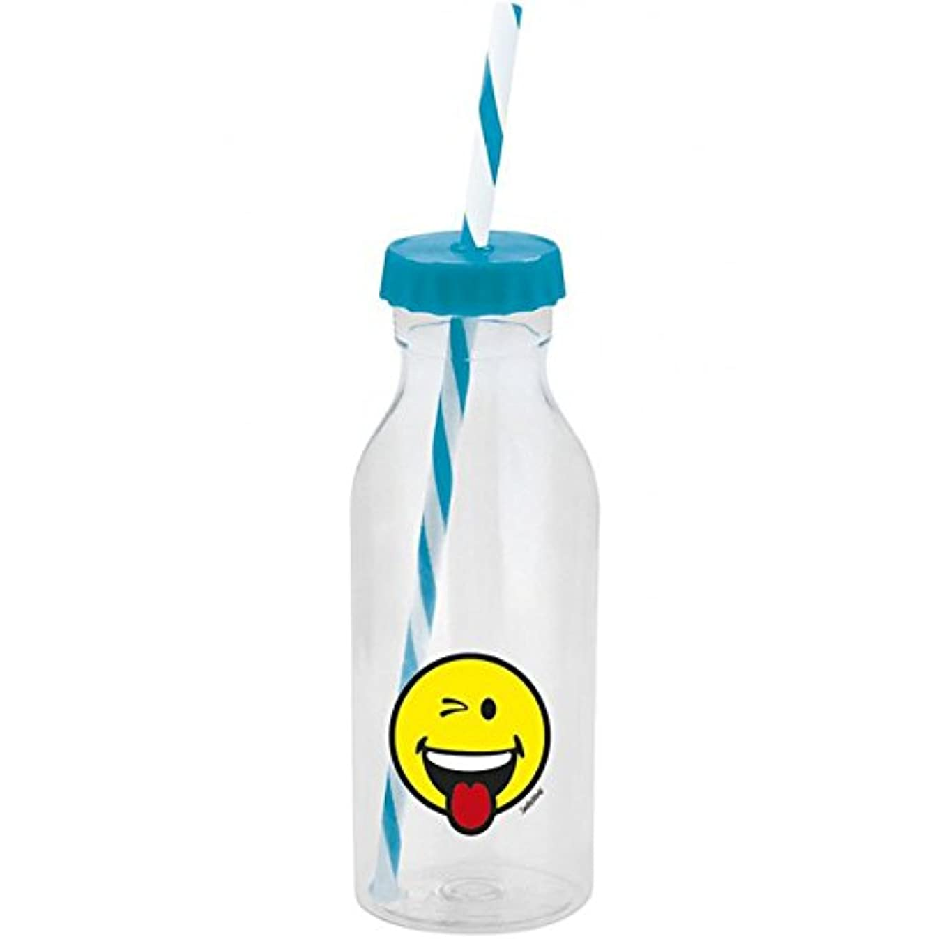 Zak Designs Drinking Bottle Smiley Wink 550ml in Clear/Aqua Blue, 15 x 8 x 8 cm