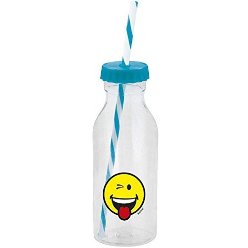Smiley Emoticon - Botella con pajita (55 cl), color azul