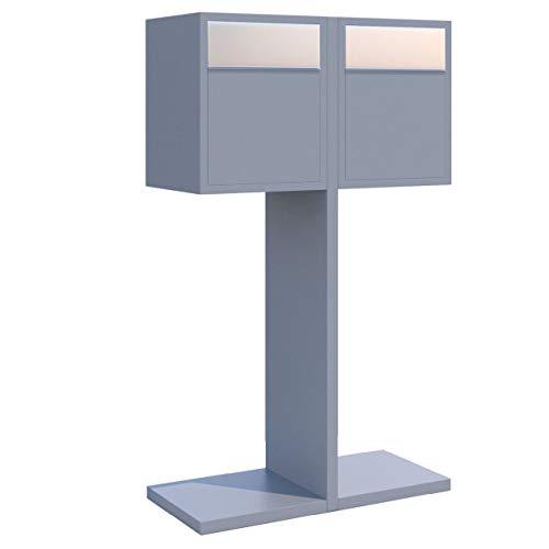 Briefkastenanlage, Design Briefkasten Hermes Double for Two Grau Metallic/Edelstahl - Bravios