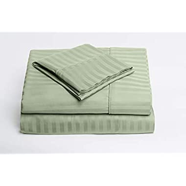 Royal's Stripe Sage 1000 Thread Count 4pc Queen Bed Sheet Set 100% Cotton, Sateen Stripe, Deep Pocket