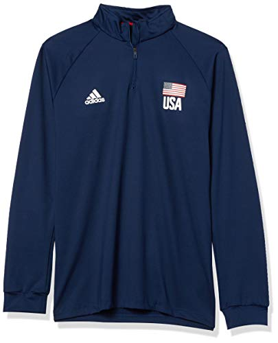 adidas mens USA Volleyball 1/4 Zip Tee Navy Blue/White/Power Red Large
