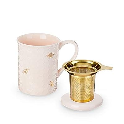 Pinky Up Annette Tea Mug & Infuser Ceramic Infuser Mugs, Honeycomb Pink