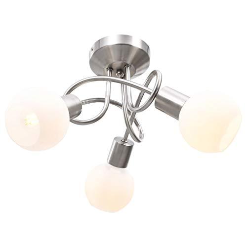 vidaXL Deckenleuchte mit Keramik-Lampenschirmen für 3 E14 Glühlampen Deckenlampe Lampe Leuchte Deckenstrahler Pendelleuchte Hängelampe Wohnzimmerlampe