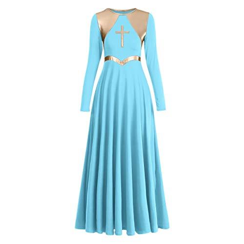 Women Metallic Cross Liturgical Praise Dance Dress Lyrical Dancewear Full Length Robe Worship Costume A-line Tunic Dresses Advent Sunday Holy Communion Dress Clothing Hanukkah Blue + Gold Cross 3XL