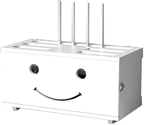 Caja de almacenamiento de enrutador inalámbrico de madera maciza Montado en la pared WiFi de pared Caja de bloqueo de gato de TV Decoración de la pared Decoración de la pared Set-Top Box Tap Tiro lige