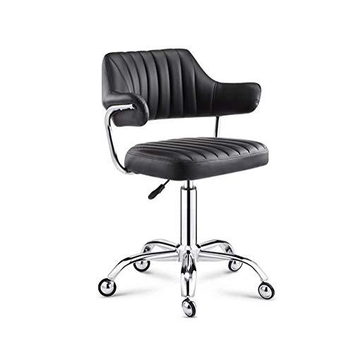 Laborbank, Rückenlehne anheben Hocker, Tattoo Stuhl, Drehstuhl Lift, Hoch Hocker Bar Rezeption Stuhl, leicht zu reinigen, einfach Verschiebbare Fünf-Kralle Rad installierte (Color : Black)