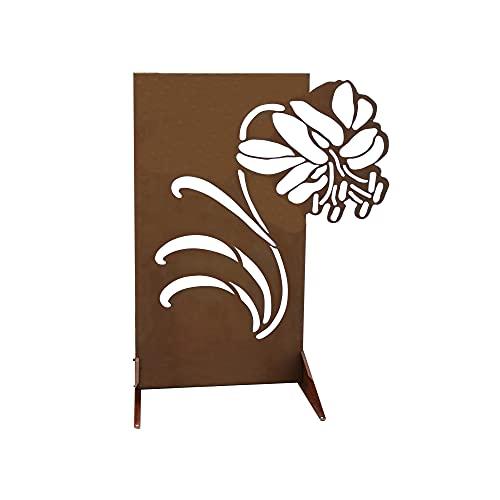 GABIO 160x118cm Flower rost Rostpatina Edelrost Sichtschutz für Garten und Terasse in Flowerdesign, rostig