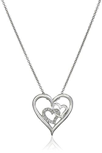 Jewelili Sterling Silver Diamond Accent Double Heart Pendant Necklace, 18
