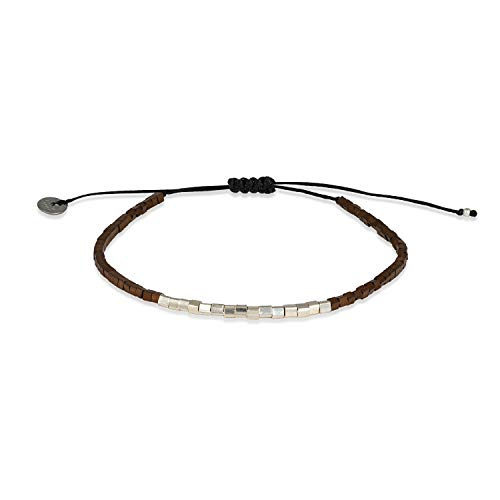 LeJu London Men's Bracelet - Brown Hermatite Stones and Silver Cube - Variable Length - Fits Any Wrist - SQ01