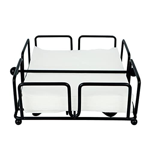 Servilletero negro de metal con barra para servilletas, dispensador de servilletas, diseño cuadrado decorado (18 x 18 x 7 cm), para mesa de cocina, restaurante y bar (cubiertos)