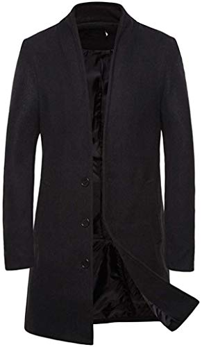 Winodfrw Men's Trench Coat Single Breasted Business Top Overcoat Outwear
