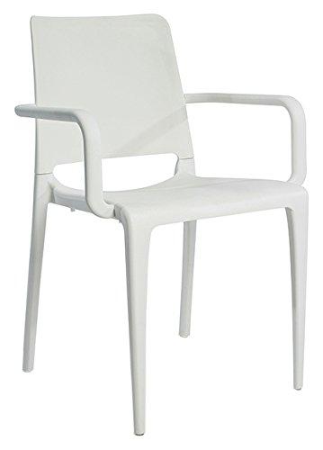 Ezpeleta Hall Sillón apilable, Blanco, 56 x 56.5 x 84 cm