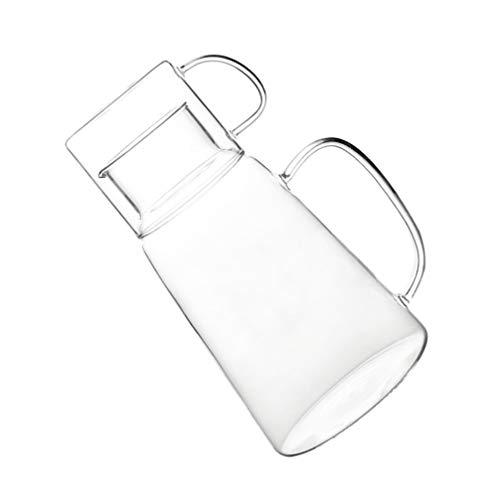 UPKOCH Glas Wasserkrug mit Tassengriff Eistee Krug Desktop Wasserkaraffe Hitzebeständige Flasche Auslaufsicherer Wasserbehälter für Saft Eistee Getränk Kaffeemilch Limonade 1300Ml 2St