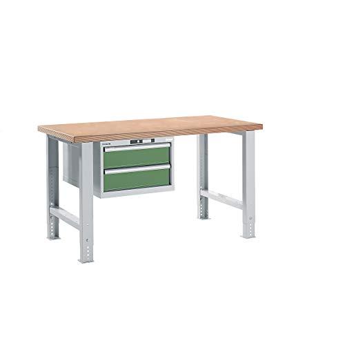 Lista Werkbank komplett, Buche-Multiplex-Arbeitsplatte - Höhe 740 – 1090 mm, Hängeschrank, 2 Schubladen, Tischbreite 1500 mm