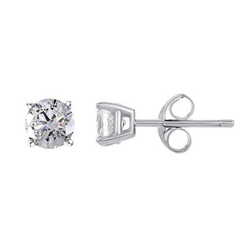 Jewel Zone US 100-Facet 1.00 cttw Stud Earrings, Platinum Clad Sterling Silver