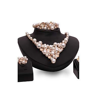 Schmuck Set Statement Ladies Vintage Fashion Imitation Pearl Rose Gold Platte Ohrringe Gold für Hochzeit Party Besondere Anlass Glückwunsch, Gold