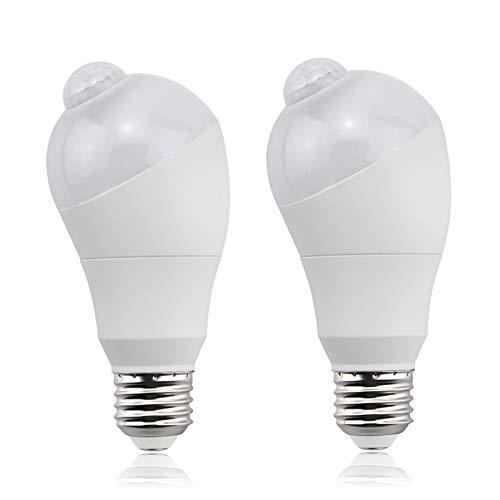 Aluxcia E26 PIR Motion Sensor LED Bulb, E26 Medium Base Motion Detector Light Auto On/Off LED Night Light for Yard, Stairs, Garden, Carport and Storge Room, Daylight 6000K, 2-Pack