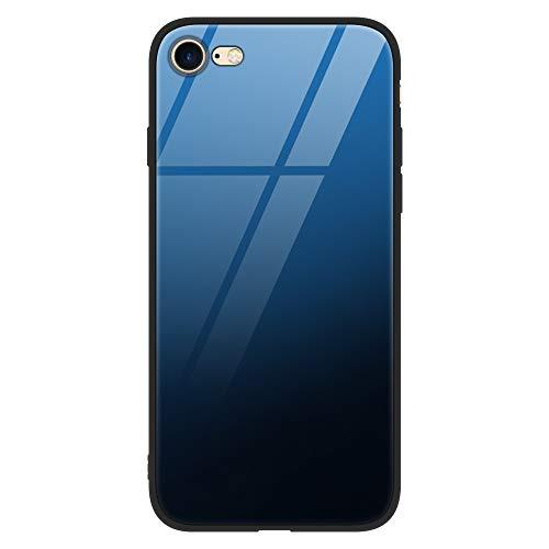 ZhuoFan Funda para iPhone 7 Plus, Fundas para iPhone 8 Plus, Cárcasa Silicona 3D Cristal Templado Diseño Antigolpes de Protector Case Cover Piel Fundas Movil para iPhone7plus/para iPhone8plus, Azul