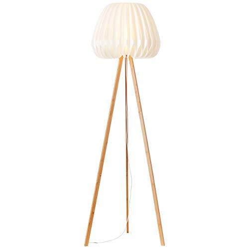 Lámpara de pie de tres patas con interruptor de pie, 1,50 m, 1 bombilla E27 máx. 60 W de bambú y plástico con pantalla blanca