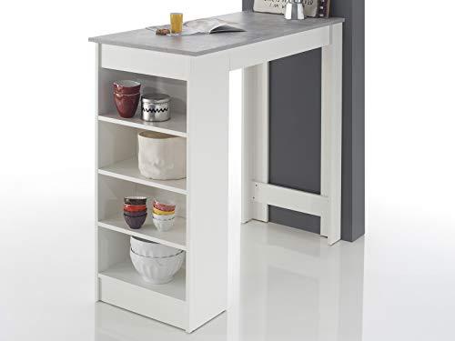 möbelando Bartisch Esstisch Tresentisch Küchentisch Bistrotisch Tisch Rosalyn I Beton/Weiß