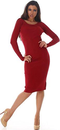 Voyelles Jela London Damen Midi Strickkleid Pulloverkleid Knielang Longpulli Etuikleid Stretch Feinstrick Langarm einfarbig Slim, Dunkel Rot