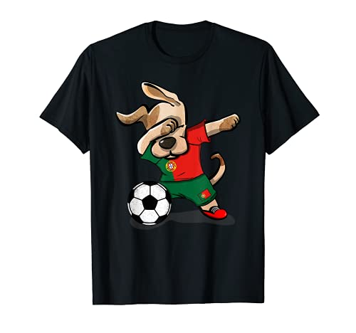 Dabbing Dog Portugal Football Drapeau Portugais Football T-Shirt