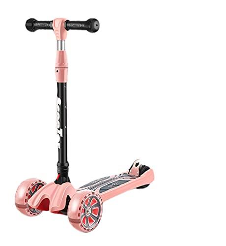 Scooter de niños, Scooter de 3 Ruedas con Ruedas de iluminación, Scooter de Patadas para niños de 2 a 14 años de Altura Ajustable para niños, Scooter, Regalo de cumpleaños para niños niñas,Rosado