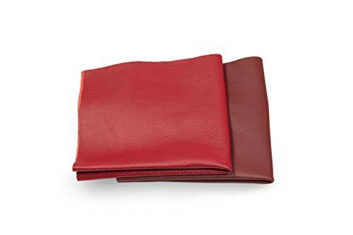 Recortes de cuero - restos de cuero rojo, restos de cuero, tamaños grandes, ideal para bolsos, zapatos, reparaciones, decoraciones, manualidades, 0,8 kg, tamaño A0