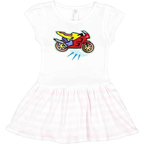 inktastic Crotch Rocket Motorcycle Toddler Dress 5-6 White and Pink 99f